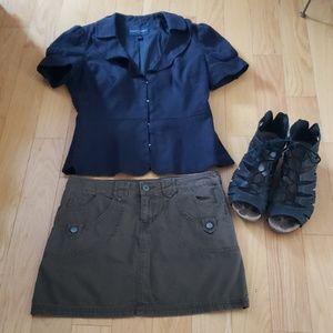 Converse green khaki mini skirt size 2